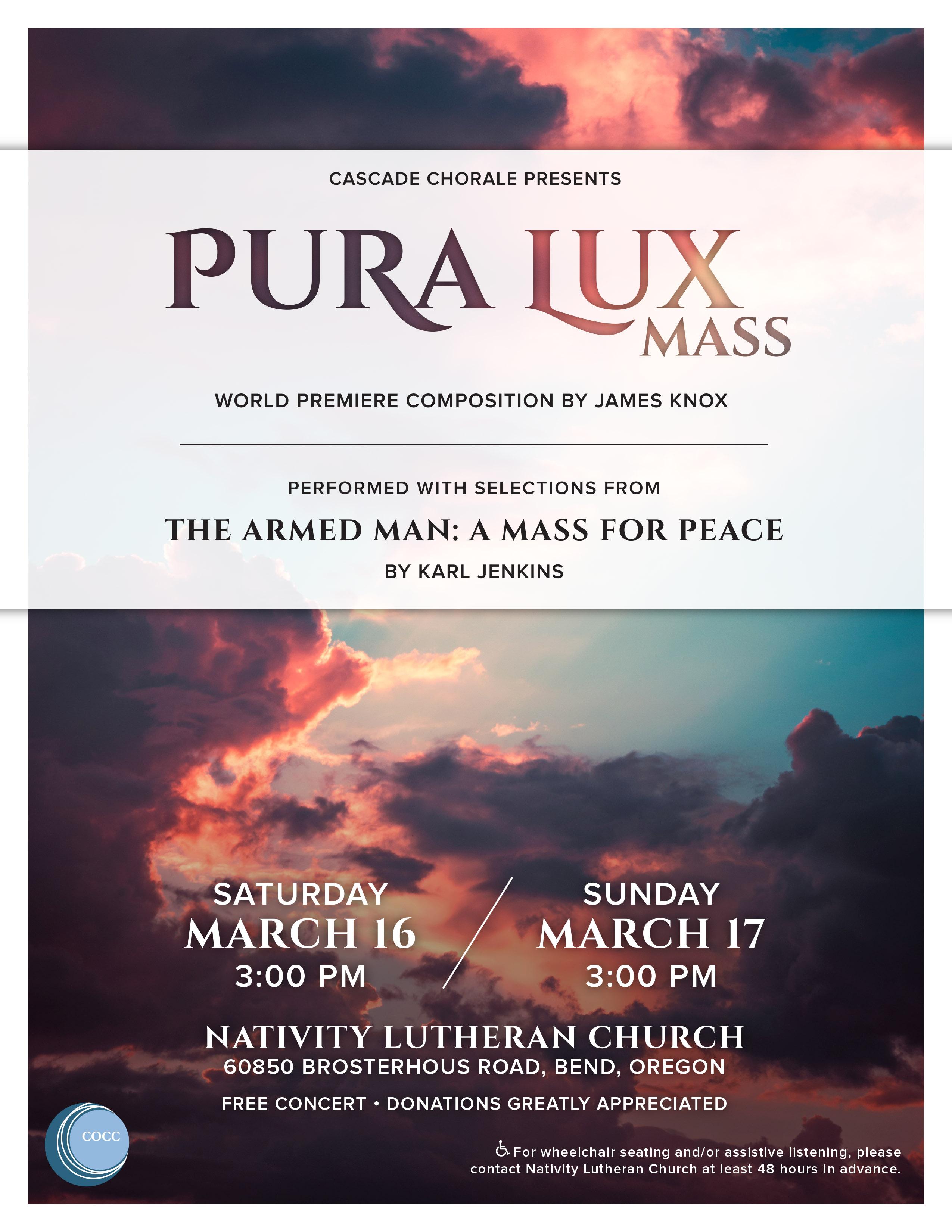 Cascade Chorale premieres Pura Lux
